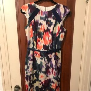 David Meister dress size 6, floral in navy/coral